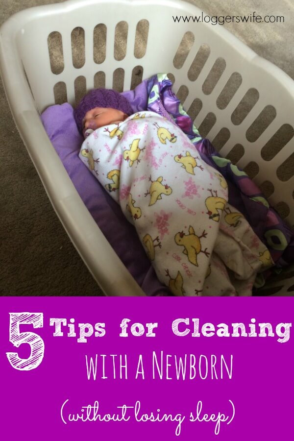 Check out these 5 tips for cleaning with a newborn. Anything to keep a house clean without losing sleep with a new baby in the house is a win!